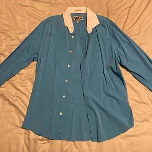 Blue button up dress shirt